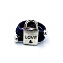 Anel em Cortiça [Modelo F014] Cadeado «Love» - Prateado