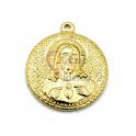 Pendente Aço Inox Relevo Jesus Cristo - Dourado (25mm)