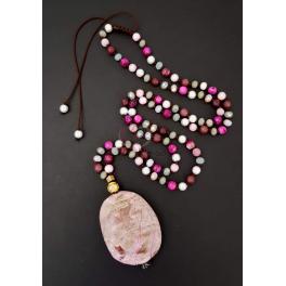 Colar Pedra Laivos - Tons Rosa e Castanho