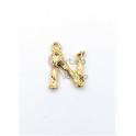 Pendente Aço Inox Letra N - Dourado (15mm)