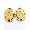 Pendente Aço Inox Nossa Senhora Mini Perolas - Dourado (27x20mm)