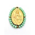 Pendente Aço Inox Nossa Senhora Cristais Verde Opalino - Dourado (27x20mm)