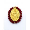 Pendente Aço Inox Nossa Senhora Cristais Bordeaux - Dourado (27x20mm)