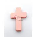 Pendente Cruz de Madeira - Rosa (34x24)