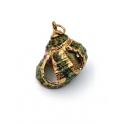 Pendente Buzio Coroa Verde - Rebordo Dourado (25x18mm)