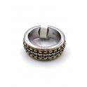 Anel Aço Inox Shine Dot Perfection - Prateado e Dourado