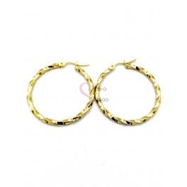 Brincos Aço Argola Malha Quadrada Twist - Dourado (35mm)