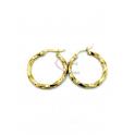 Brincos Aço Argola Malha Quadrada Twist - Dourado (25mm)