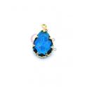 Pendente Latão AQ Lagrima Cristal Azul Petroleo - Dourado (16x10mm)