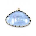 Pendente Latão AQ Ovalado Cristal Azul Celeste - Dourado (25x38mm)