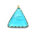Pendente Latão AQ Triangulo Cristal Azul Marinho - Dourado (35x30mm)