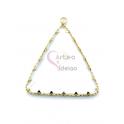 Pendente Latão AQ Triangulo Cristal - Dourado (35x30mm)