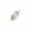 Conector Pedra Semi-Preciosa Tombola Quartzo Branco - Dourado (13x8mm)