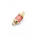 Conector Pedra Semi-Preciosa Tombola Quartzo Rosa - Dourado (13x8mm)