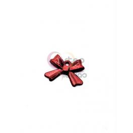 Pendente Latão Laço - Vermelho (10x14mm)