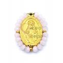 Pendente Aço Inox Nossa Senhora Cristais Rosa Opalino - Dourado (27x20mm)