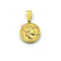 Pendente Aço Inox Medalha Imperio Romano Busto - Dourado (15mm)