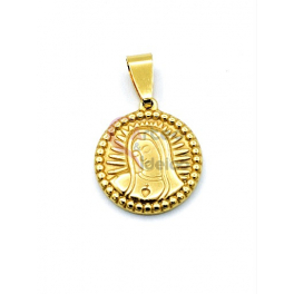 Pendente Aço Inox Nossa Senhora Rebordo Ondulado - Dourado (18mm)