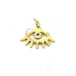 Pendente Aço Inox Olho Turco - Dourado (10x15mm)