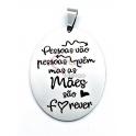 Pendente Aço Inox Oval Mãe Forever - Prateado (40x30mm)