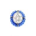 Pendente Aço Inox Mini Nossa Senhora Cristais Azul Celeste Translucido - Prateado (23x20mm)