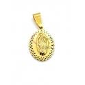 Pendente Aço Inox Nossa Senhora Relevo Rebordo Pontilhado - Dourado (25x18mm)
