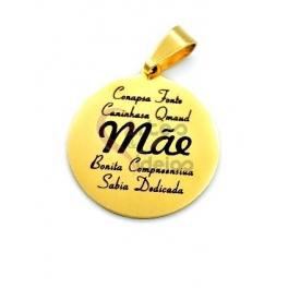 Pendente Aço Inox «Mãe» - Dourado (20mm)