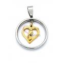 Pendente Aço Inox Aro Coração Nossa Senhora - Prateado e Dourado (25mm)