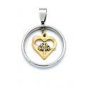 Pendente Aço Inox Aro Coração Arvore da Vida - Prateado e Dourado (25mm)