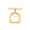 Fecho Aço Inox em T Quadrado (20mm) - Dourado
