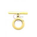 Fecho Aço Inox em T Espalmado (15mm) - Dourado