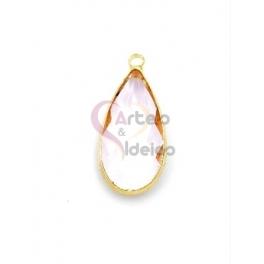 Pendente Latão AQ Lagrima Cristal Rosa - Dourado (21x10mm)