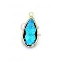 Pendente Latão AQ Lagrima Cristal Azul Claro - Dourado (21x10mm)