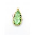 Pendente Latão AQ Lagrima Cristal Verde Claro - Dourado (21x10mm)