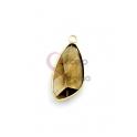 Pendente Latão AQ Lagrima Irregular Castanho - Dourado (20x10mm)