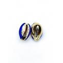 Pendente Buzio / Concha - Azul e Dourado (16x10mm)
