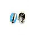 Pendente Buzio / Concha - Azul Claro e Dourado (16x10mm)
