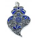 Pendente Metal Coração de Viana Blue Collection [Mod.001) - Prateado (76x55mm)
