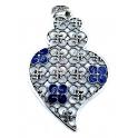 Pendente Metal Coração de Viana Blue Collection [Mod.005) - Prateado (76x55mm)