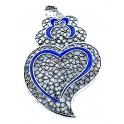 Pendente Metal Coração de Viana Blue Collection [Mod.008) - Prateado (76x55mm)