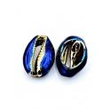Pendente Buzio / Concha - Azul Rebordo Dourado (22x14mm)