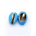 Pendente Buzio / Concha - Azul Claro Rebordo Dourado (22x14mm)