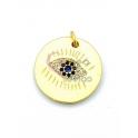 Pendente Latão AQ Olho Turco - Dourado (20mm)