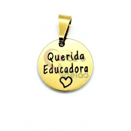 Pendente Aço Inox Querida Educadora - Dourado (15mm)