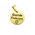 Pendente Aço Inox Querida Professora - Dourado (15mm)