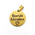 Pendente Aço Inox Querida Educadora - Dourado (22mm)