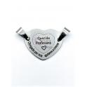 Conector Aço Inox Coração Querida Professora (...) - Prateado (20x25mm)