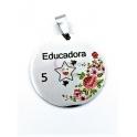 Pendente Aço Inox Colorido Educadora 5 Estrelas - Prateado (30mm)
