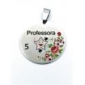 Pendente Aço Inox Colorido Professora 5 Estrelas - Prateado (30mm)