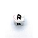 Conta Silicone Quadrada Letra R - Branca